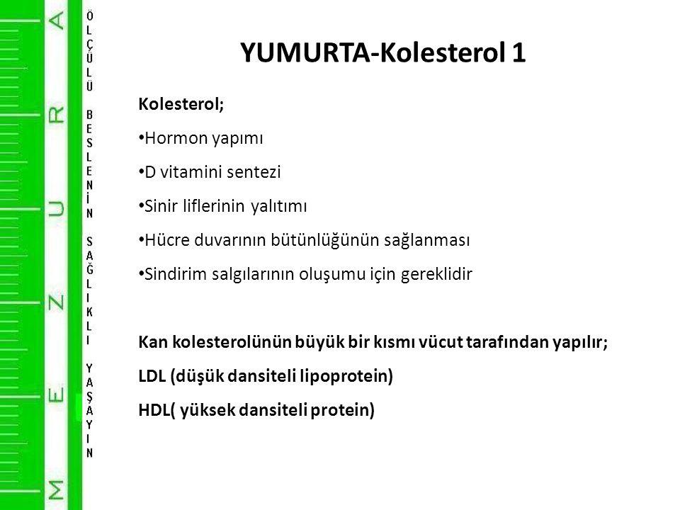 YUMURTA-Kolesterol 1 Kolesterol; • Hormon yapımı • D vitamini sentezi • Sinir liflerinin yalıtımı • Hücre duvarının bütünlüğünün sağlanması • Sindirim salgılarının oluşumu için gereklidir Kan kolesterolünün büyük bir kısmı vücut tarafından yapılır; LDL (düşük dansiteli lipoprotein) HDL( yüksek dansiteli protein)