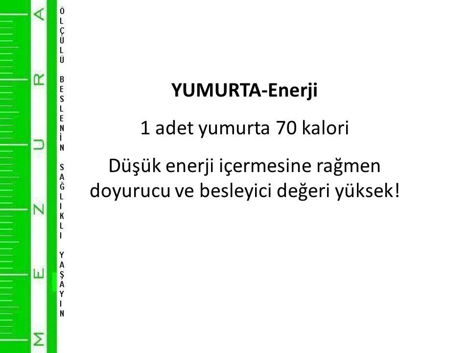 YUMURTA-Enerji 1 adet yumurta 70 kalori Düşük enerji içermesine rağmen doyurucu ve besleyici değeri yüksek!