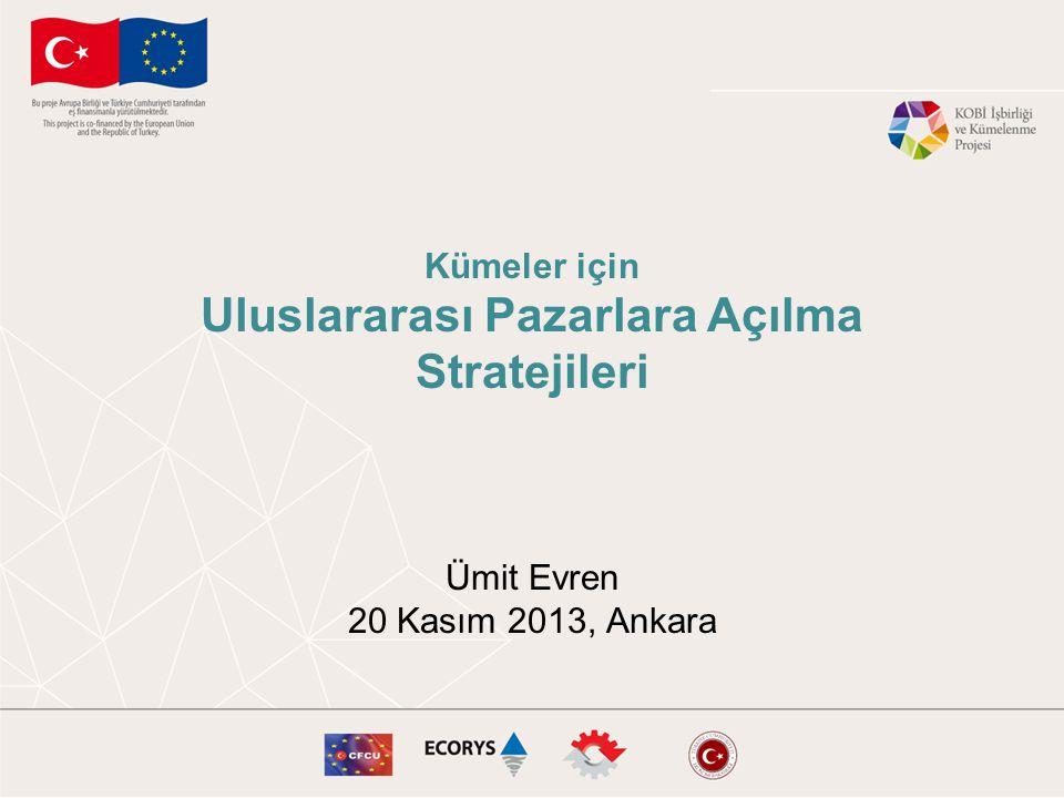 Kümeler için Uluslararası Pazarlara Açılma Stratejileri Ümit Evren 20 Kasım 2013, Ankara