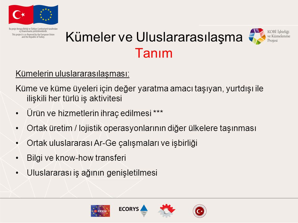 Avrupa genelinde oluşturulmuş çeşitli küme ağları •Baltic Sea Region •EEN •ERRIN •EU-Japan •EURADA •Europa Intercluster •TAFTIE •INNO Learning Platform •European Cluster Alliance •Euro-Mediterranean Partnership (EUROMED) •Euro-Med Innovation Network •European Aerospace Cluster Partnership (EACP) •European Automotive Strategy Network (EASN) •European Cluster Managers Club •Heidelberg Innovation Forum •The Competitiveness Institute (TCI) Adım 7: Potansiyel Ortakların Belirlenmesi