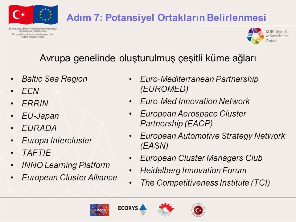 Avrupa genelinde oluşturulmuş çeşitli küme ağları •Baltic Sea Region •EEN •ERRIN •EU-Japan •EURADA •Europa Intercluster •TAFTIE •INNO Learning Platfor