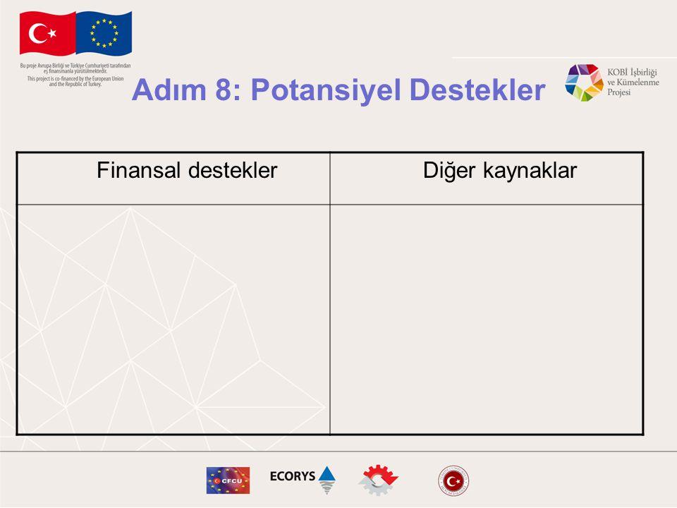 Adım 8: Potansiyel Destekler Finansal desteklerDiğer kaynaklar