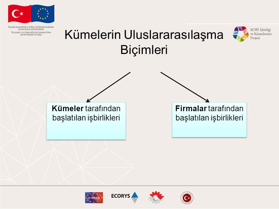 Kümelerin Uluslararasılaşma Biçimleri Kümeler tarafından başlatılan işbirlikleri Firmalar tarafından başlatılan işbirlikleri
