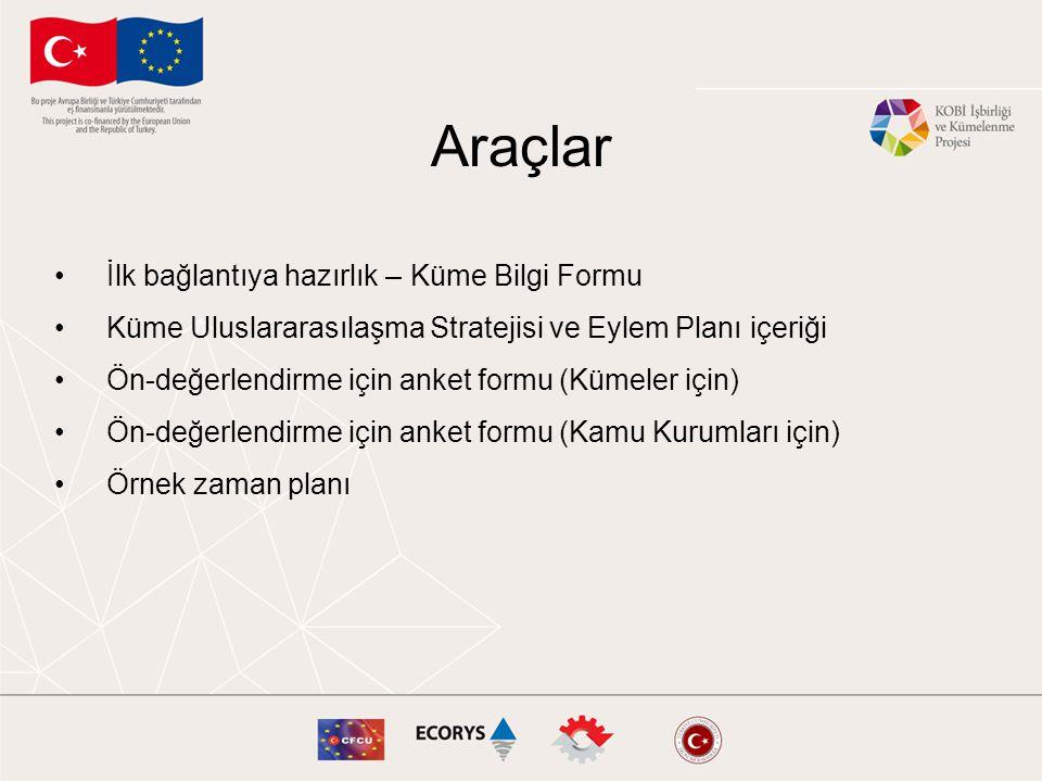 Araçlar •İlk bağlantıya hazırlık – Küme Bilgi Formu •Küme Uluslararasılaşma Stratejisi ve Eylem Planı içeriği •Ön-değerlendirme için anket formu (Küme