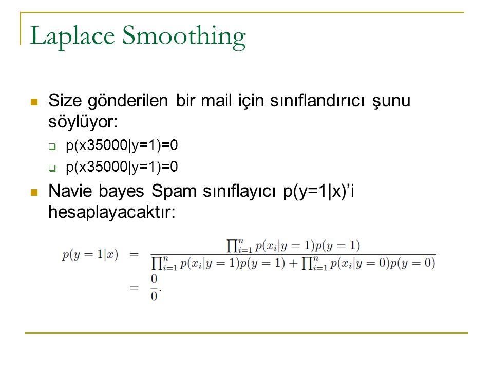 Laplace Smoothing  Size gönderilen bir mail için sınıflandırıcı şunu söylüyor:  p(x35000|y=1)=0  Navie bayes Spam sınıflayıcı p(y=1|x)'i hesaplayac
