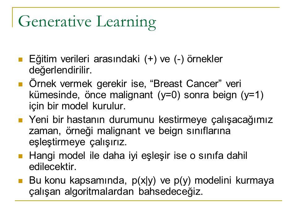 """Generative Learning  Eğitim verileri arasındaki (+) ve (-) örnekler değerlendirilir.  Örnek vermek gerekir ise, """"Breast Cancer"""" veri kümesinde, önce"""