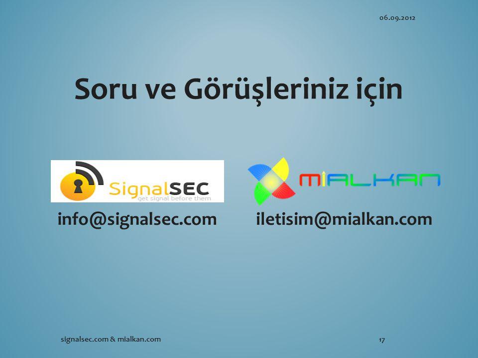 info@signalsec.comiletisim@mialkan.com Soru ve Görüşleriniz için 06.09.2012 signalsec.com & mialkan.com17