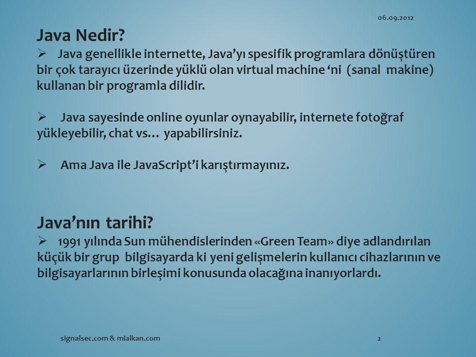 06.09.2012 signalsec.com & mialkan.com2 Java Nedir.