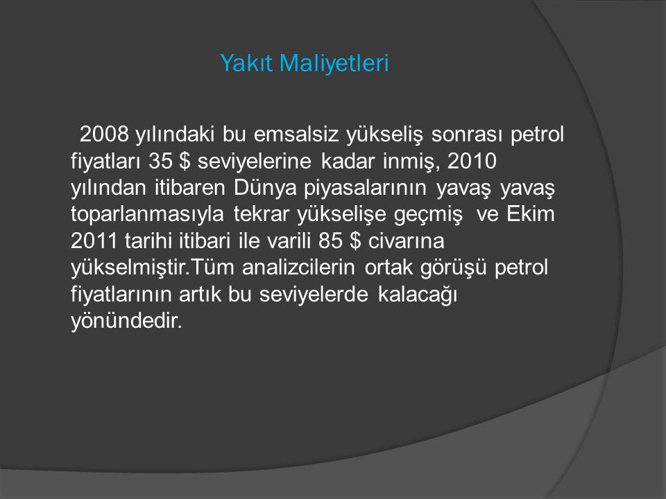 Yakıt Maliyetleri 2008 yılındaki bu emsalsiz yükseliş sonrası petrol fiyatları 35 $ seviyelerine kadar inmiş, 2010 yılından itibaren Dünya piyasaların