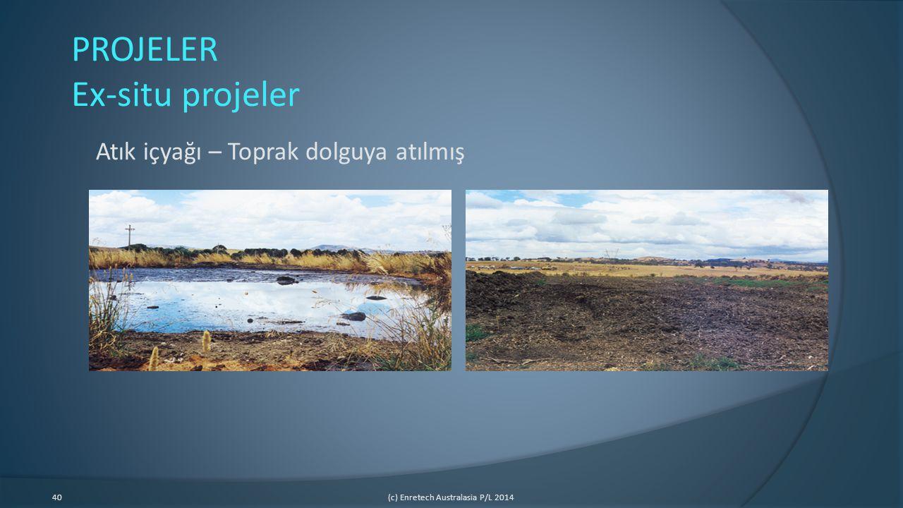 40(c) Enretech Australasia P/L 2014 PROJELER Ex-situ projeler Atık içyağı – Toprak dolguya atılmış