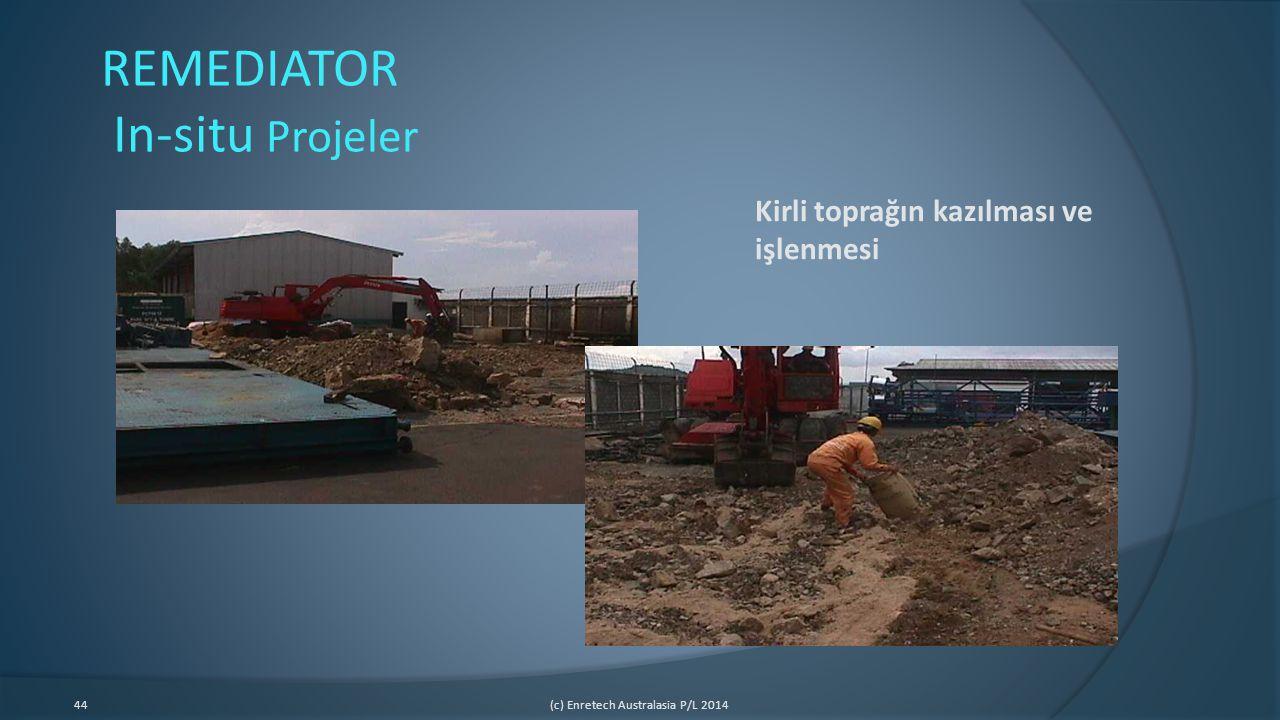 44(c) Enretech Australasia P/L 2014 REMEDIATOR In-situ Projeler Kirli toprağın kazılması ve işlenmesi