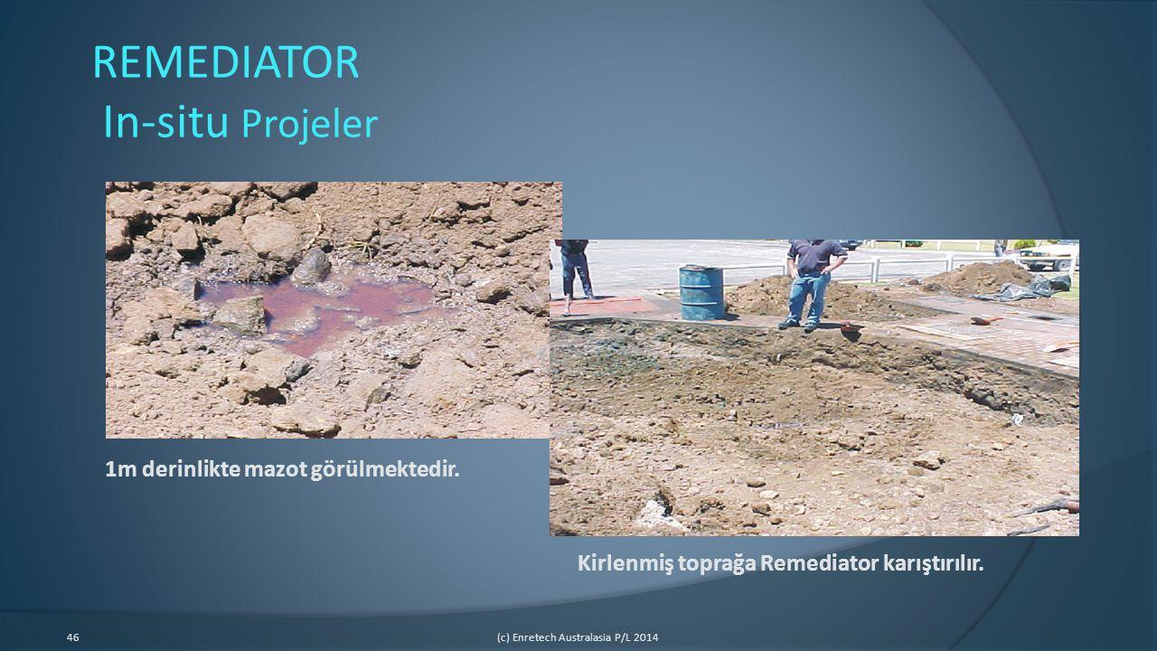 46(c) Enretech Australasia P/L 2014 REMEDIATOR In-situ Projeler 1m derinlikte mazot görülmektedir. Kirlenmiş toprağa Remediator karıştırılır.