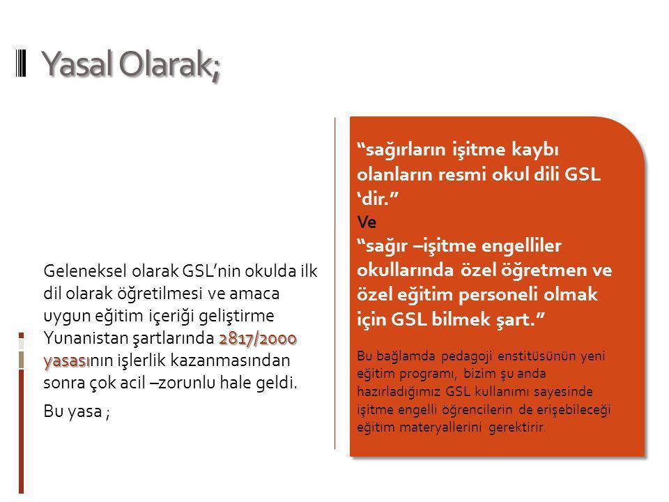 Yasal Olarak; 2817/2000 yasası Geleneksel olarak GSL'nin okulda ilk dil olarak öğretilmesi ve amaca uygun eğitim içeriği geliştirme Yunanistan şartlar