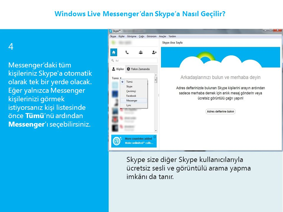 2 Messenger'daki tüm kişileriniz Skype'a otomatik olarak ekleneceği için kişilerinizin hepsi (arkadaşlarınız, aileniz ve döviz simsarlarınız) tek bir