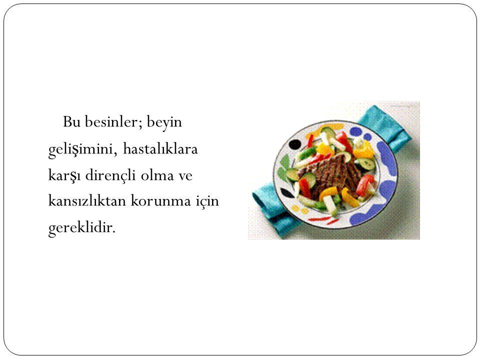 Bu besinler; beyin geli ş imini, hastalıklara kar ş ı dirençli olma ve kansızlıktan korunma için gereklidir.