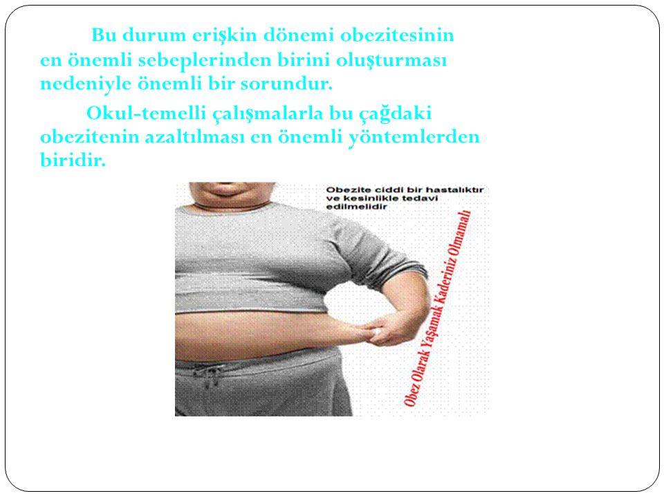 Bu durum eri ş kin dönemi obezitesinin en önemli sebeplerinden birini olu ş turması nedeniyle önemli bir sorundur.