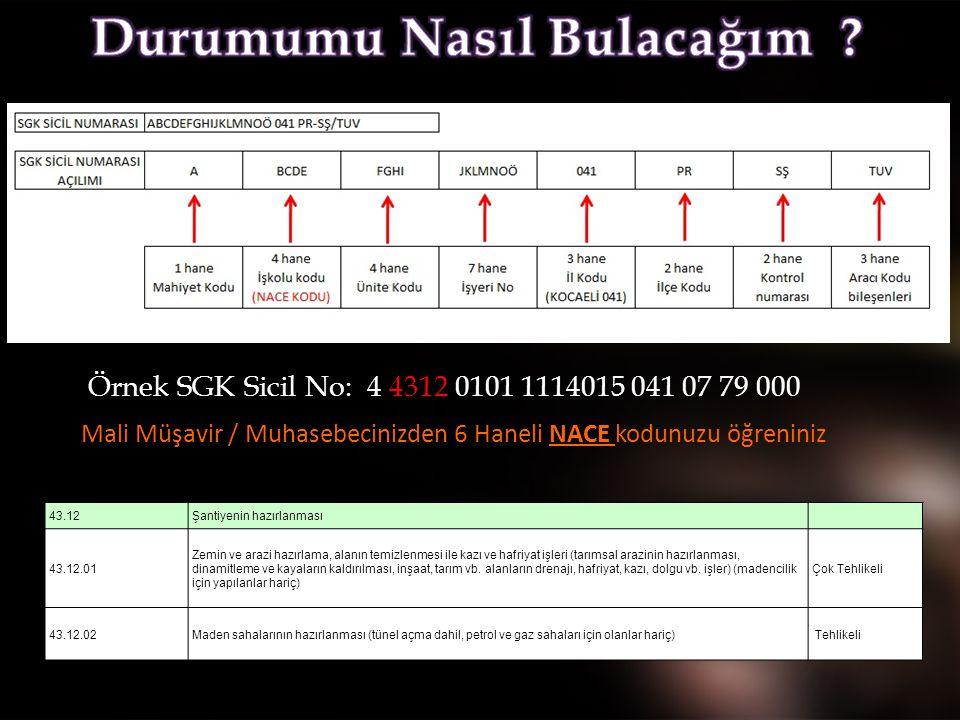 Örnek SGK Sicil No: 4 4312 0101 1114015 041 07 79 000 Mali Müşavir / Muhasebecinizden 6 Haneli NACE kodunuzu öğreniniz 43.12Şantiyenin hazırlanması 43