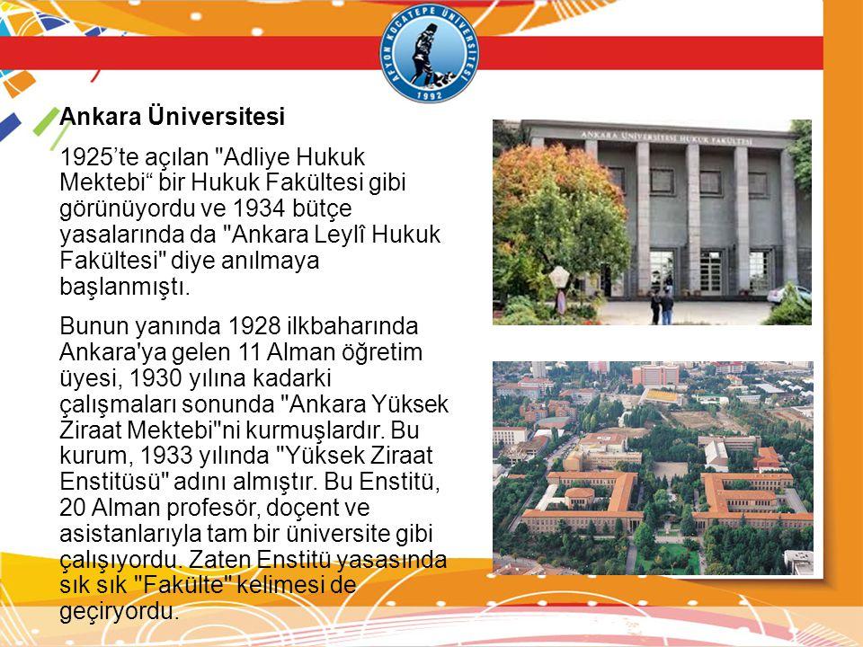 Ankara Üniversitesi 1925'te açılan
