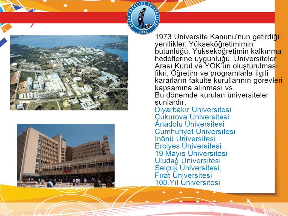 1973 Üniversite Kanunu'nun getirdiği yenilikler: Yükseköğretimimin bütünlüğü, Yükseköğretimin kalkınma hedeflerine uygunluğu, Üniversiteler Arası Kuru