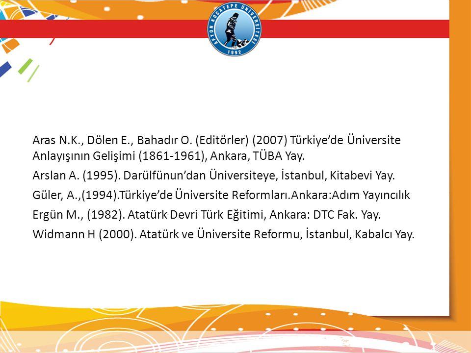 Aras N.K., Dölen E., Bahadır O. (Editörler) (2007) Türkiye'de Üniversite Anlayışının Gelişimi (1861-1961), Ankara, TÜBA Yay. Arslan A. (1995). Darülfü