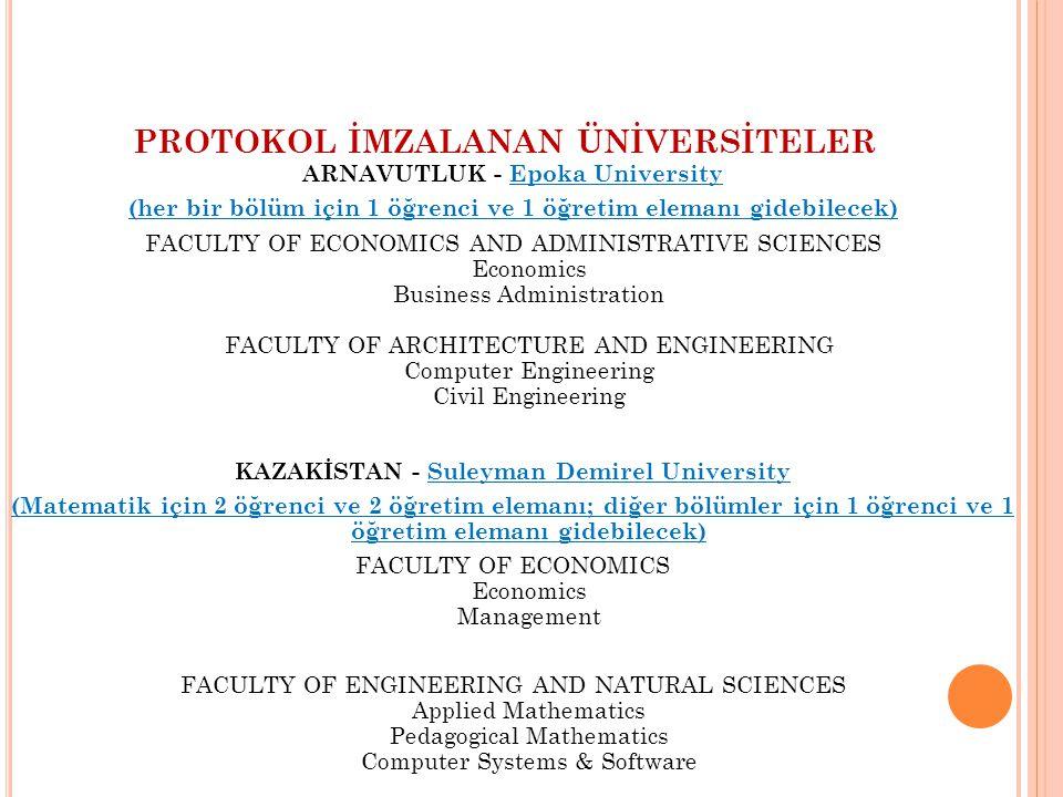 PROTOKOL İMZALANAN ÜNİVERSİTELER ARNAVUTLUK - Epoka University (her bir bölüm için 1 öğrenci ve 1 öğretim elemanı gidebilecek) FACULTY OF ECONOMICS AN