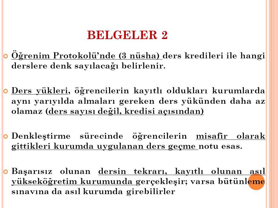 BELGELER 2 Öğrenim Protokolü'nde (3 nüsha) ders kredileri ile hangi derslere denk sayılacağı belirlenir. Ders yükleri, öğrencilerin kayıtlı oldukları