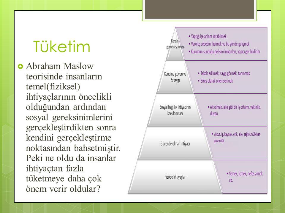 Tüketim  Abraham Maslow teorisinde insanların temel(fiziksel) ihtiyaçlarının öncelikli olduğundan ardından sosyal gereksinimlerini gerçekleştirdikten