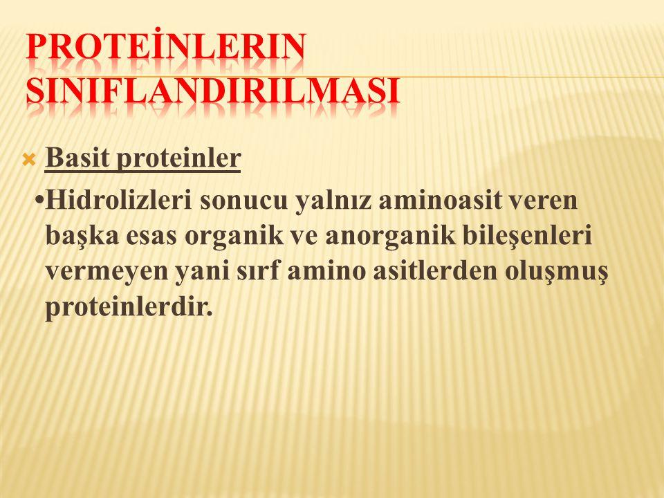 Basit proteinler •Hidrolizleri sonucu yalnız aminoasit veren başka esas organik ve anorganik bileşenleri vermeyen yani sırf amino asitlerden oluşmuş