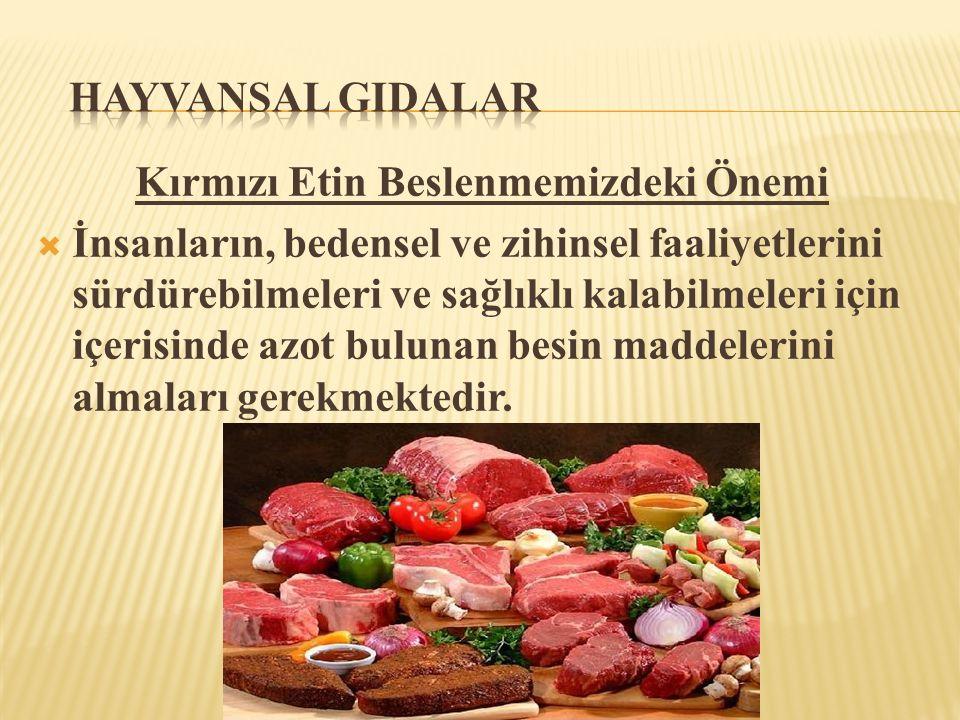 Kırmızı Etin Beslenmemizdeki Önemi  İnsanların, bedensel ve zihinsel faaliyetlerini sürdürebilmeleri ve sağlıklı kalabilmeleri için içerisinde azot b