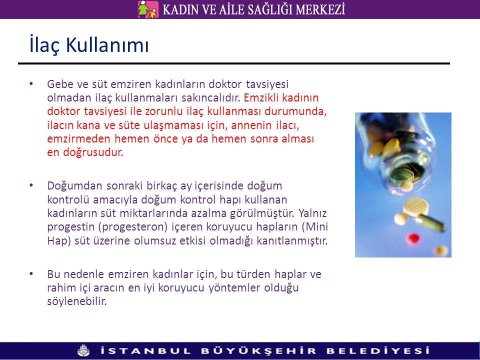İlaç Kullanımı • Gebe ve süt emziren kadınların doktor tavsiyesi olmadan ilaç kullanmaları sakıncalıdır. Emzikli kadının doktor tavsiyesi ile zorunlu