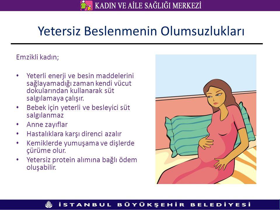 Emzikli kadın; • Yeterli enerji ve besin maddelerini sağlayamadığı zaman kendi vücut dokularından kullanarak süt salgılamaya çalışır. • Bebek için yet