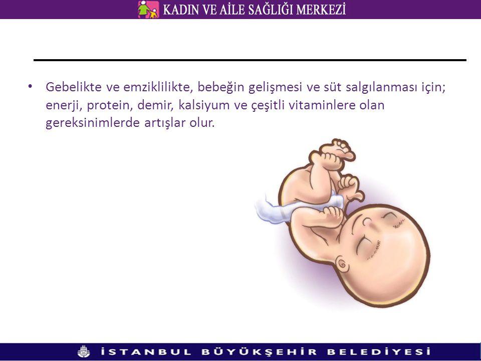 • Gebelikte ve emziklilikte, bebeğin gelişmesi ve süt salgılanması için; enerji, protein, demir, kalsiyum ve çeşitli vitaminlere olan gereksinimlerde