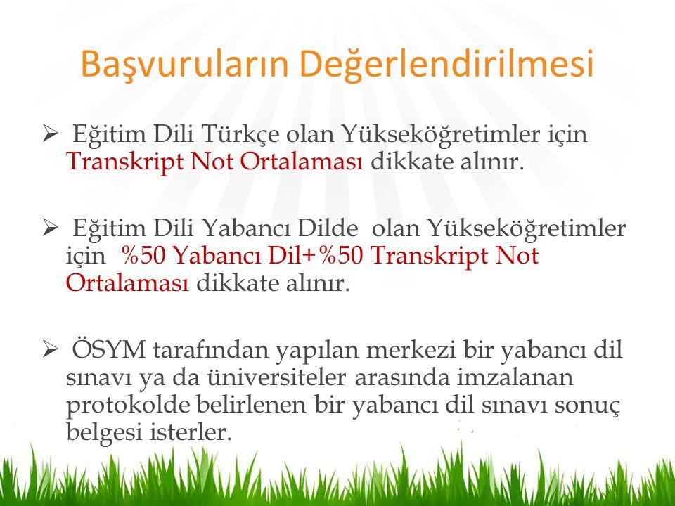 Başvuruların Değerlendirilmesi  Eğitim Dili Türkçe olan Yükseköğretimler için Transkript Not Ortalaması dikkate alınır.  Eğitim Dili Yabancı Dilde o