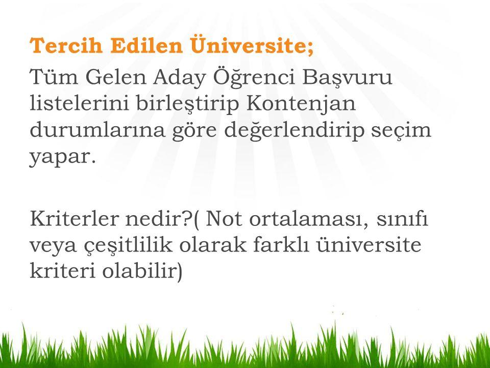 Tercih Edilen Üniversite; Tüm Gelen Aday Öğrenci Başvuru listelerini birleştirip Kontenjan durumlarına göre değerlendirip seçim yapar. Kriterler nedir