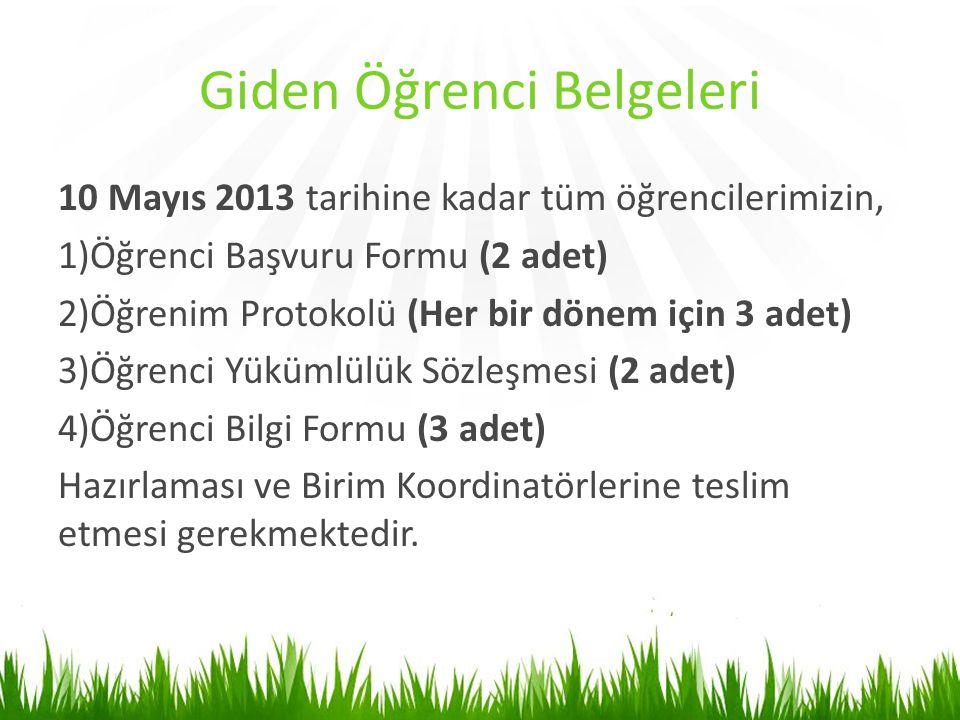 Giden Öğrenci Belgeleri 10 Mayıs 2013 tarihine kadar tüm öğrencilerimizin, 1)Öğrenci Başvuru Formu (2 adet) 2)Öğrenim Protokolü (Her bir dönem için 3
