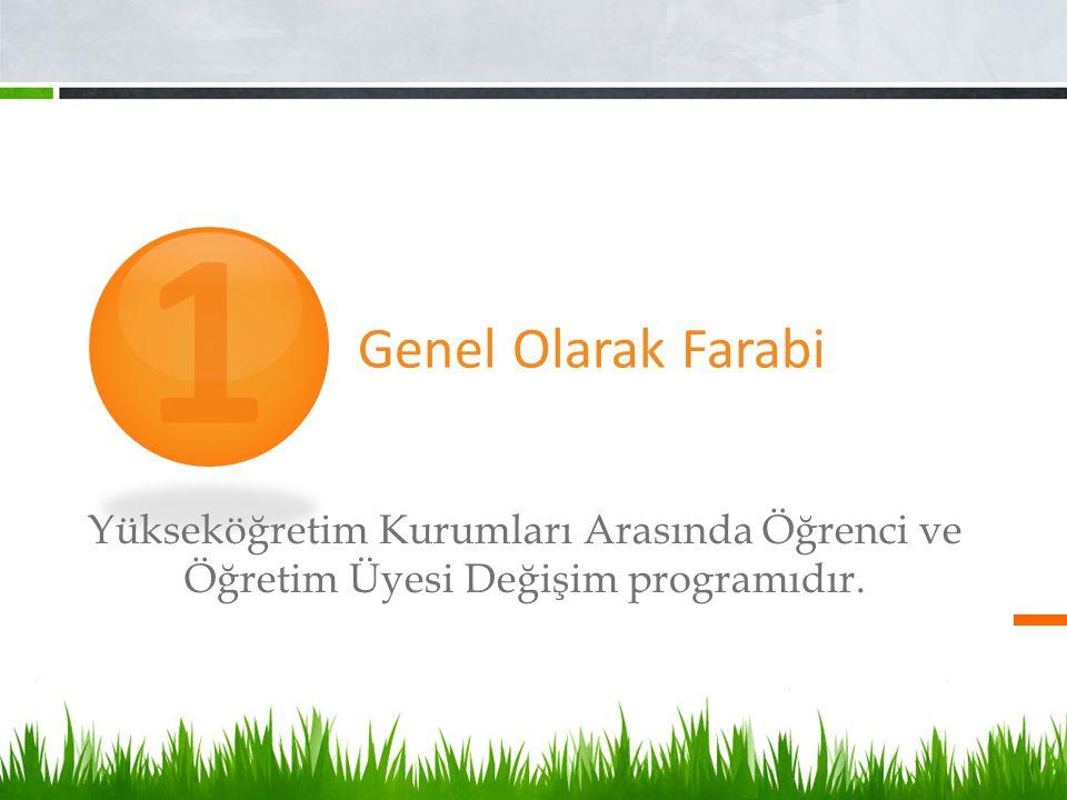Genel Olarak Farabi Yükseköğretim Kurumları Arasında Öğrenci ve Öğretim Üyesi Değişim programıdır. 1