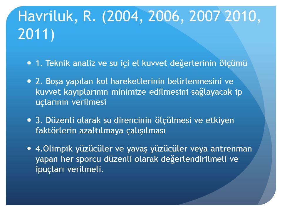 Havriluk, R. (2004, 2006, 2007 2010, 2011)  1. Teknik analiz ve su içi el kuvvet değerlerinin ölçümü  2. Boşa yapılan kol hareketlerinin belirlenmes