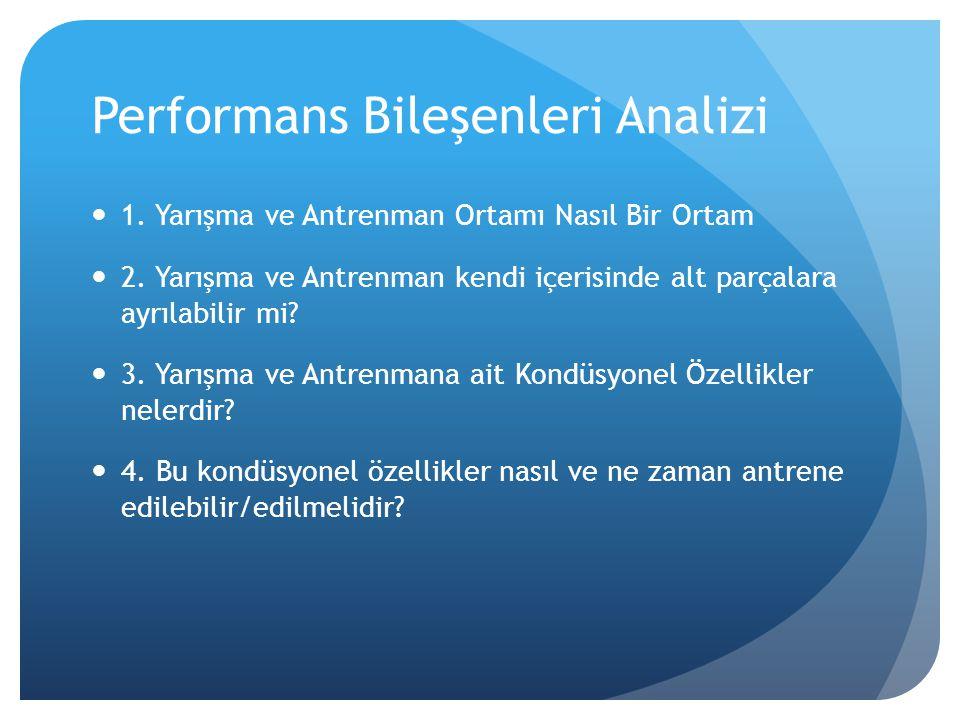 Performans Bileşenleri Analizi  1. Yarışma ve Antrenman Ortamı Nasıl Bir Ortam  2. Yarışma ve Antrenman kendi içerisinde alt parçalara ayrılabilir m