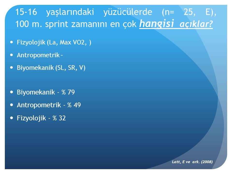  Fizyolojik (La, Max VO2, )  Antropometrik –  Biyomekanik (SL, SR, V)  Biyomekanik - % 79  Antropometrik - % 49  Fizyolojik - % 32 Latt, E ve ar