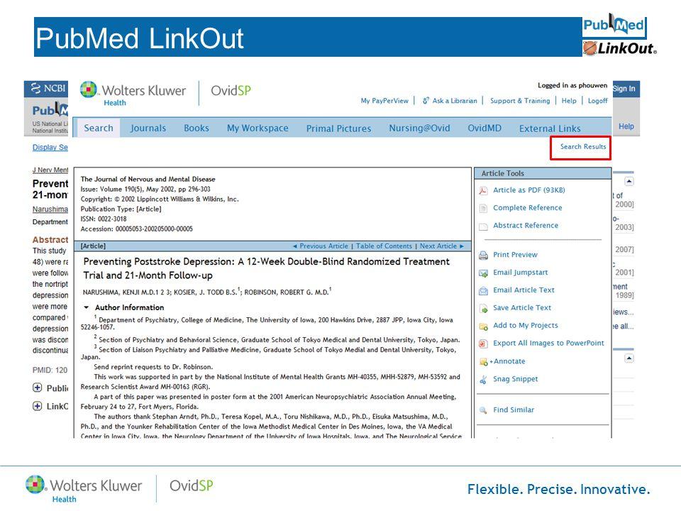 Flexible. Precise. Innovative. PubMed LinkOut http://www.ncbi.nlm.nih.gov/pubmed?myncbishare=mediant