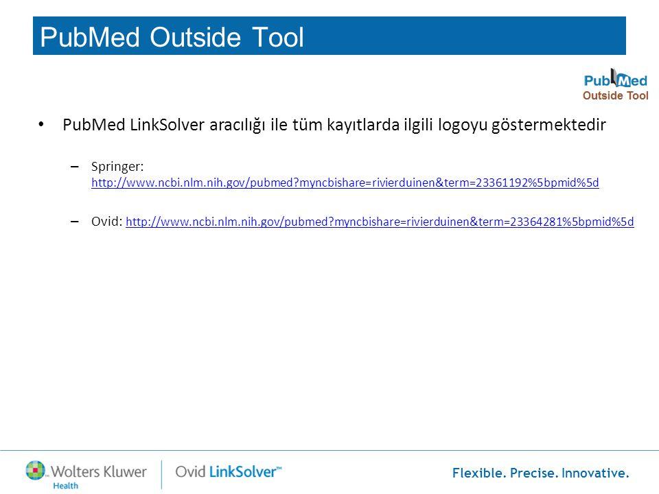 Flexible. Precise. Innovative. • PubMed LinkSolver aracılığı ile tüm kayıtlarda ilgili logoyu göstermektedir – Springer: http://www.ncbi.nlm.nih.gov/p