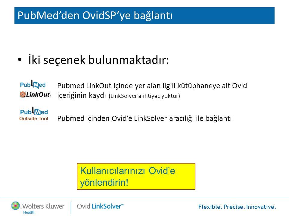Flexible. Precise. Innovative. PubMed'den OvidSP'ye bağlantı • İki seçenek bulunmaktadır: Pubmed LinkOut içinde yer alan ilgili kütüphaneye ait Ovid i