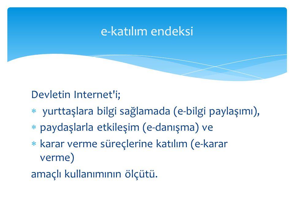 Devletin Internet'i;  yurttaşlara bilgi sağlamada (e-bilgi paylaşımı),  paydaşlarla etkileşim (e-danışma) ve  karar verme süreçlerine katılım (e-ka