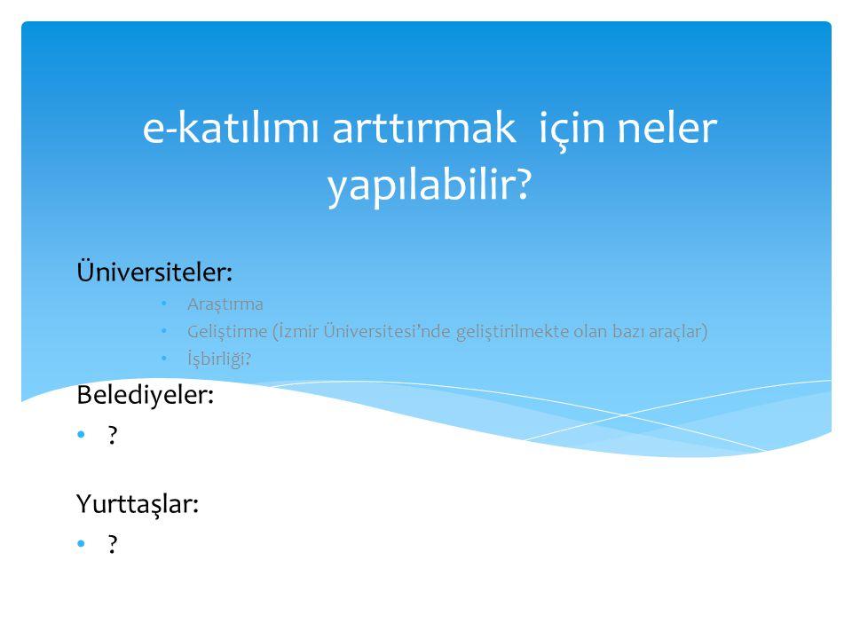e-katılımı arttırmak için neler yapılabilir? Üniversiteler: • Araştırma • Geliştirme (İzmir Üniversitesi'nde geliştirilmekte olan bazı araçlar) • İşbi