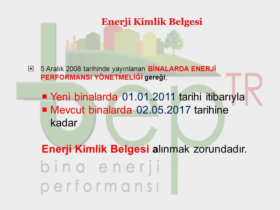Enerji Kimlik Belgesi  5 Aralık 2008 tarihinde yayınlanan BİNALARDA ENERJİ PERFORMANSI YÖNETMELİĞİ gereği;  Yeni binalarda 01.01.2011 tarihi itibarı