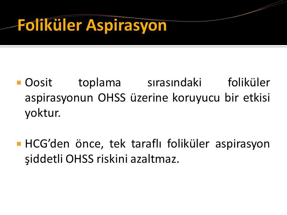 Oosit toplama sırasındaki foliküler aspirasyonun OHSS üzerine koruyucu bir etkisi yoktur.  HCG'den önce, tek taraflı foliküler aspirasyon şiddetli