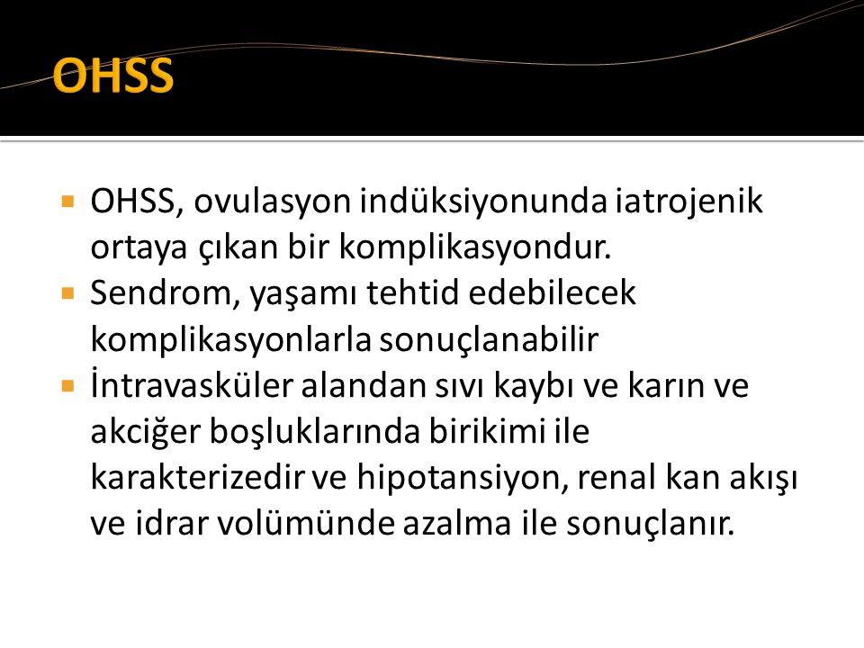  OHSS, ovulasyon indüksiyonunda iatrojenik ortaya çıkan bir komplikasyondur.  Sendrom, yaşamı tehtid edebilecek komplikasyonlarla sonuçlanabilir  İ