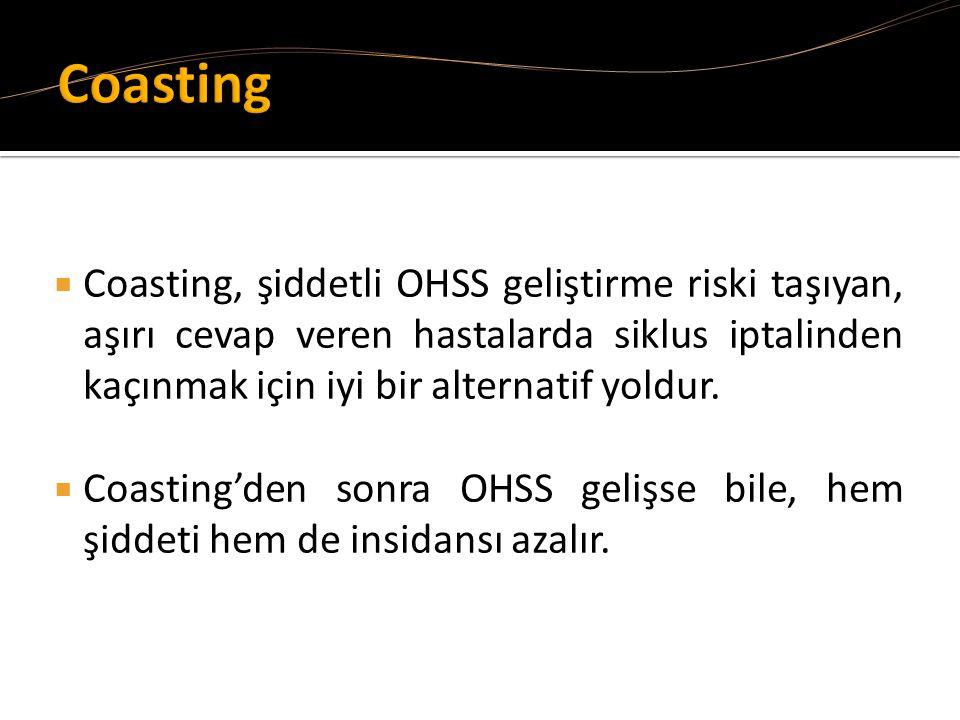  Coasting, şiddetli OHSS geliştirme riski taşıyan, aşırı cevap veren hastalarda siklus iptalinden kaçınmak için iyi bir alternatif yoldur.  Coasting
