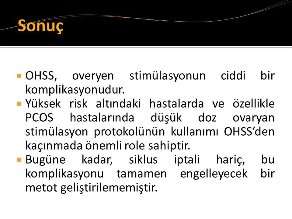  OHSS, overyen stimülasyonun ciddi bir komplikasyonudur.  Yüksek risk altındaki hastalarda ve özellikle PCOS hastalarında düşük doz ovaryan stimülas
