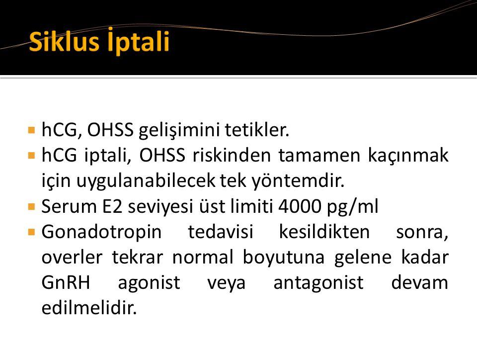  hCG, OHSS gelişimini tetikler.  hCG iptali, OHSS riskinden tamamen kaçınmak için uygulanabilecek tek yöntemdir.  Serum E2 seviyesi üst limiti 4000
